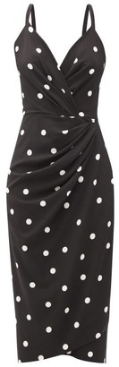 Dolce & Gabbana Polka-dot Gathered-crepe Sheath Dress - Black Multi