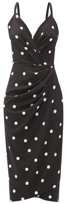 Dolce & Gabbana Polka-dot Gathered-crepe Sheath Dress - Black Multi