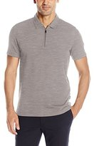 Perry Ellis Men's Slub-Texture Zip Polo Shirt