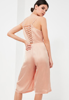 Missguided Petite Nude Satin Lace Up Culotte Romper