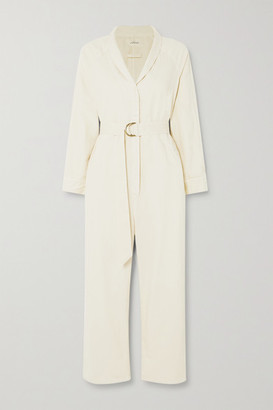 The Great The Herringbone Roundtop Belted Cotton Jumpsuit - Cream