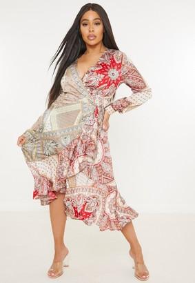 Missguided Plus Size Brown Paisley Print Wrap Midaxi Dress