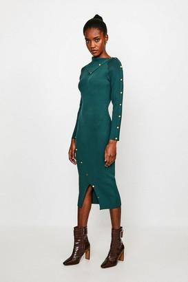 Karen Millen Button Detail Envelope Neck Knitted Dress