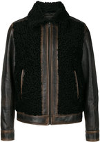 Prada fur panel leather jacket