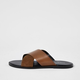 River Island Brown leather cross over strap sandals