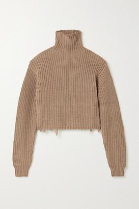 RtA Beau Distressed Ribbed Cotton Turtleneck Sweater - Light brown