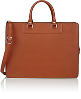Barneys New York MEN'S SAFFIANO STRUCTURED BRIEFCASE-BROWN