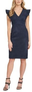 DKNY Ruffled Cap-Sleeve Sheath Dress