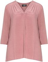 Via Appia Plus Size Mixed fabric V-neck top