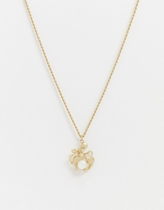 Topman neckchain in gold with octopus and pearl pendant