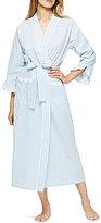 Eileen West Lace-Trimmed Striped Seersucker Wrap Robe