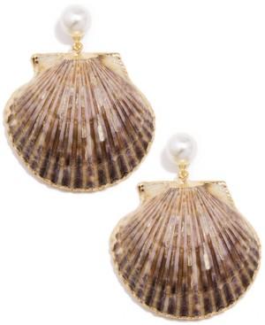 Zenzii Gold-Tone Imitation Pearl & Shell Drop Earrings