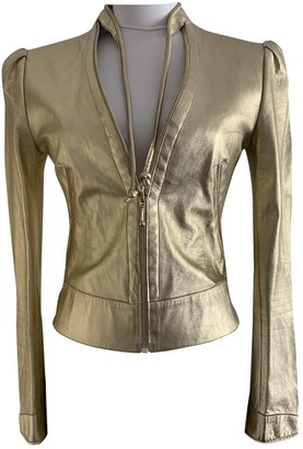 Roberto Cavalli Gold Leather Leather Jacket for Women