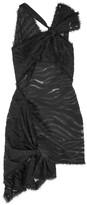 Versace One-shoulder Cotton-blend Fil Coupé Mini Dress - Black