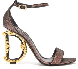 Dolce & Gabbana Monogram-heel Glitter-canvas Sandals - Womens - Multi