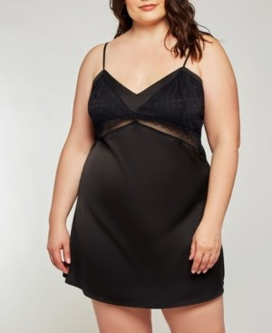 iCollection Plus Size Dressy Satin Chemise Nightgown, Online Only