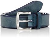 Barneys New York Men's Bridle Leather Belt-BLUE