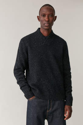 Cos SPECKLED SHAWL-NECK SWEATER