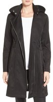 Vince Camuto Women's Belted Asymmetrical Zip Raincoat