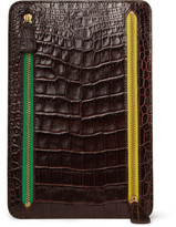 Crocodile-Embossed Leather Multi-Currency Wallet
