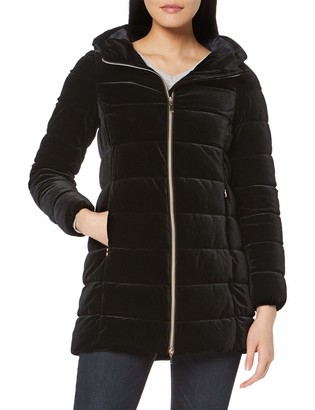 Geox Women's Felyxa Long Velvet Jacket with Hood Outerwear