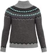 Valentino Funnel-neck Geometric-intarsia Sweater