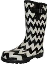 NOMAD Women's Puddles Rain Boot, Black/White Chevron, 8 M US