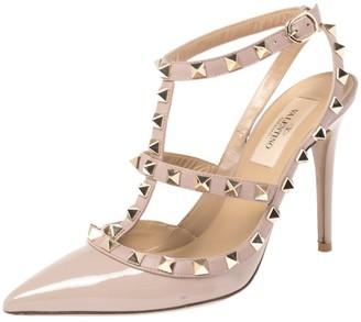 Valentino Beige Leather Rockstud Embellished Pointed Toe Ankle Strap Sandals Size 36.5