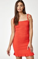 KENDALL + KYLIE Kendall & Kylie Tie Strap Smocked Bodycon Dress
