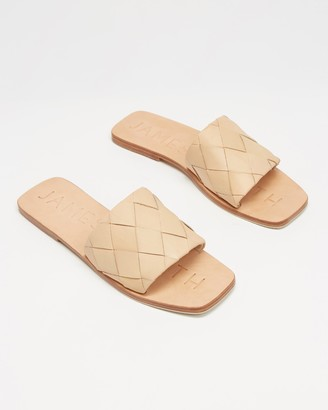 James Smith JAMES | SMITH - Women's Neutrals Flat Sandals - Lecco Slides - Size 36 at The Iconic