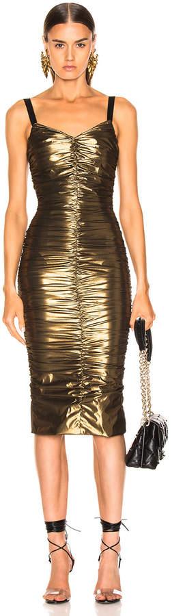 Dolce & Gabbana Stretch Lame Ruched Dress in Gold | FWRD