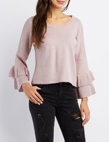 Charlotte Russe Tiered Ruffle Bell Sleeve Sweater