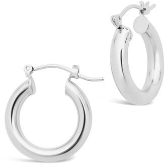 Sterling Forever Rhodium Plated Chunky Tube Hoop Earrings