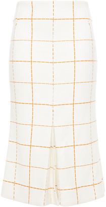 Victoria Beckham Pleated Checked Wool-blend Twill Midi Skirt