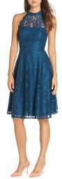 Brinker & Eliza Halter Neck Lace Fit and Flare Dress
