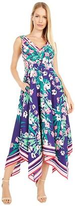 Vince Camuto Printed Crepe De Chine Handkerchief Hem V-Neck Midi (Indigo Combo) Women's Dress