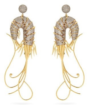 BEGÜM KHAN Shrimp Cubic Zirconia & Gold-plated Drop Earrings - Crystal