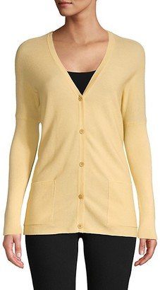 Gentry Portofino Button-Front Cotton Cashmere-Blend Cardigan