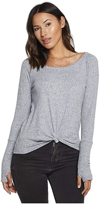 Chaser Linen Rib Knot Front Thumbhole Cuff Tee (Newport) Women's T Shirt