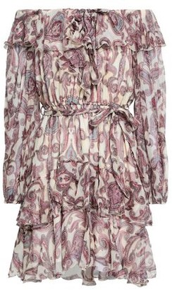 Zimmermann Off-the-shoulder Printed Silk-georgette Mini Dress