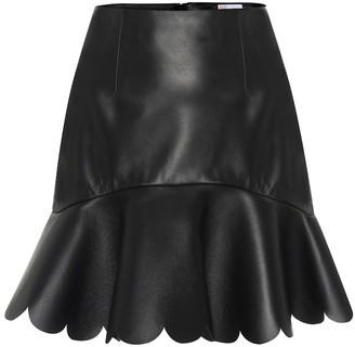 RED Valentino Scalloped leather miniskirt