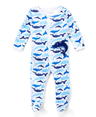 Sweet & Soft Boys' Footies White - White & Blue Dolphin Footie - Newborn & Infant