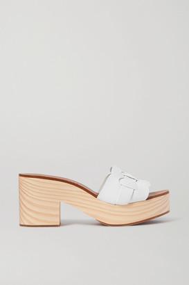 Miu Miu Leather Platform Mules - White