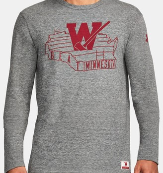 Under Armour Men's Wisconsin UA Iconic Tri-Blend Long Sleeve T-Shirt
