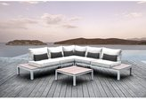 Solis Pulito 4-piece Deep Seated White Frame Modular Sectional Patio Set, with White Cushions, and Black Toss Pillows