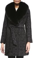 Sofia Cashmere Damask Brocade Wrap Coat with Fur Trim