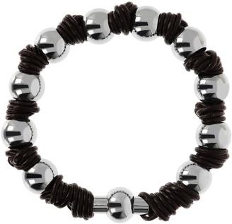 Milor Steel By Design Polished Bead & Leather Knot Bracelet