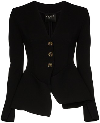 A.W.A.K.E. Mode Tailored peplum collarless jacket