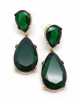 Kenneth Jay Lane Green Crystal Teardrop Goldtone Pierced Post Back Earrings 2