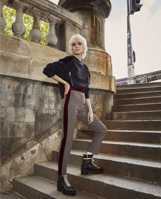 The Kooples Wine print trousers with velvet strips